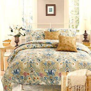 Pylle-Hill-Floral-Reversible-100-Cotton-3-Piece-Quilt-Set-Bedspread-Coverlet