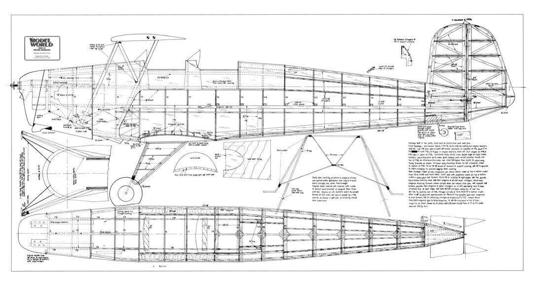 Bücker chappij 131 joven hombre (envergadura 1830 mm). plan de modelismo con capó
