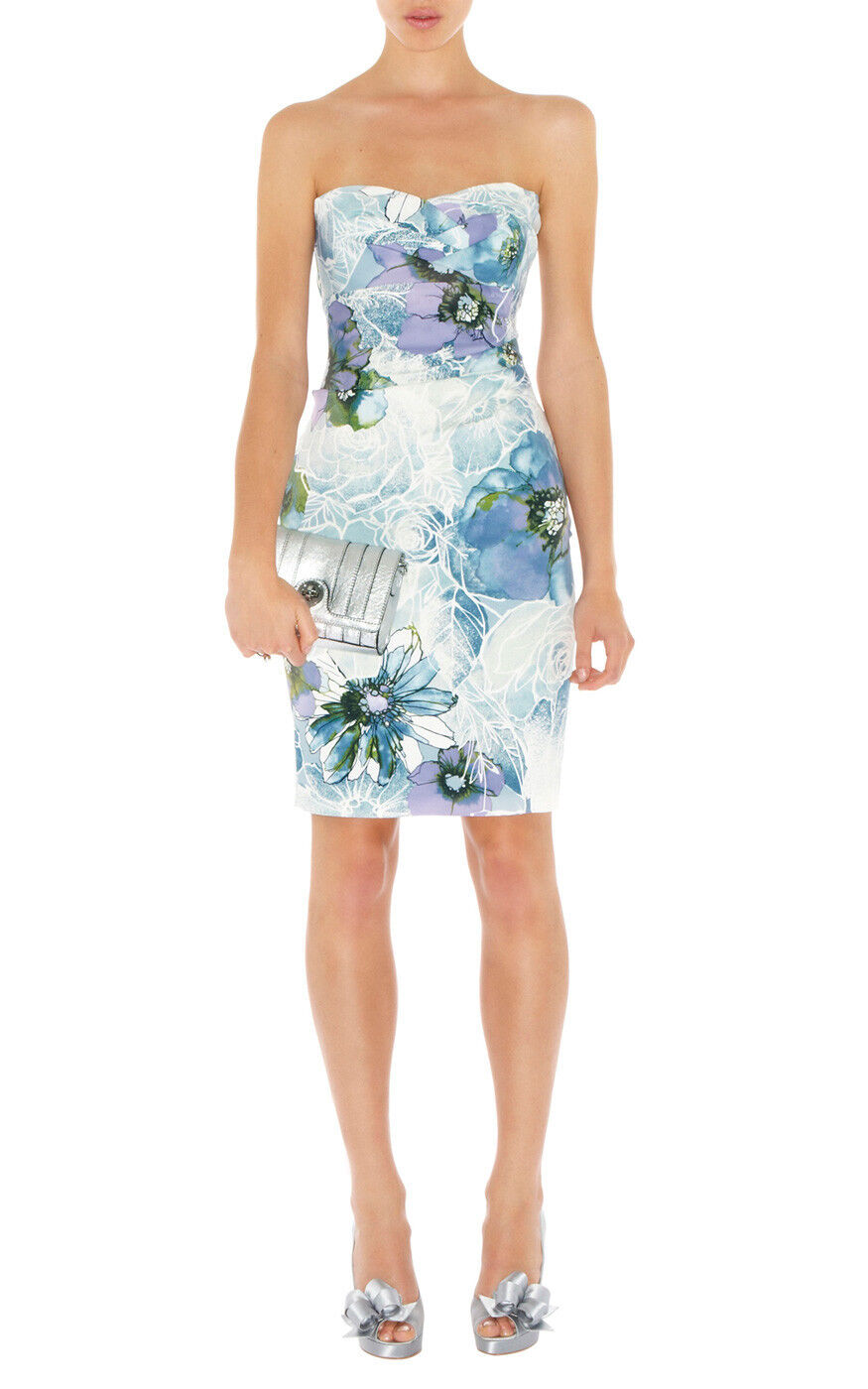 KAREN MILLEN VERY RARE ROMANTIC blueE & CREAM FLORAL PRINT CORSET DRESS 12 BNWT