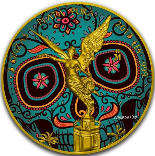 2017 Mexican DAY OF THE DEAD LIBERTAD 2 Oz Silver Coin, 24K GOLD FIRST COIN