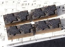 4x Ivy Wood Letterpress Ornaments Wooden Printing Blocks Type Frame Line Antique