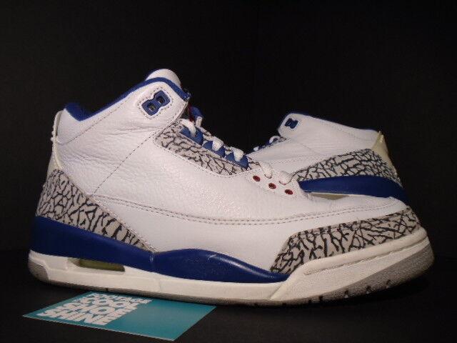 2001 Nike Air Jordan III 3 Retro WHITE TRUE BLUE CEMENT GREY RED 136064-141 9.5