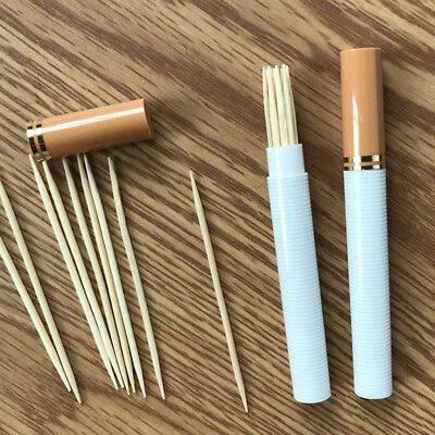 Creative Portable Pen Shape  Toothpicks Solid Wood Toothpicks Box Gift G