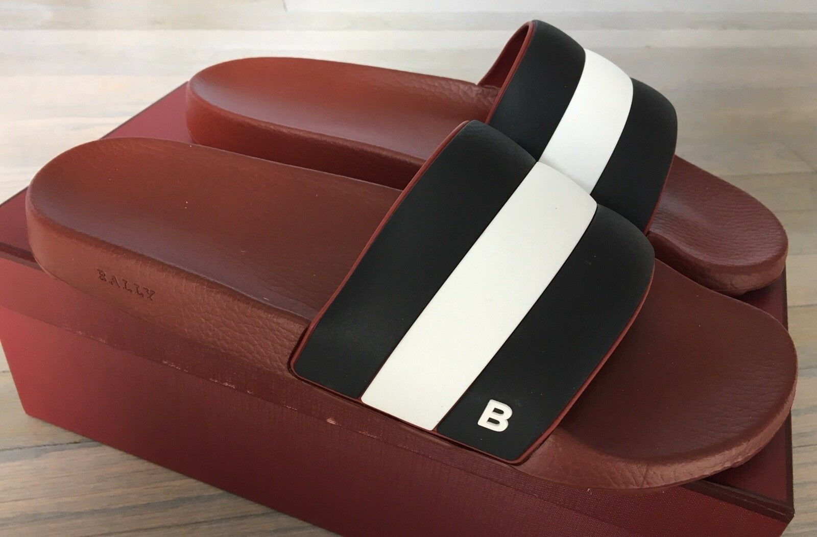Bally Sleter Red Rubber Sandals size US 12 Made in