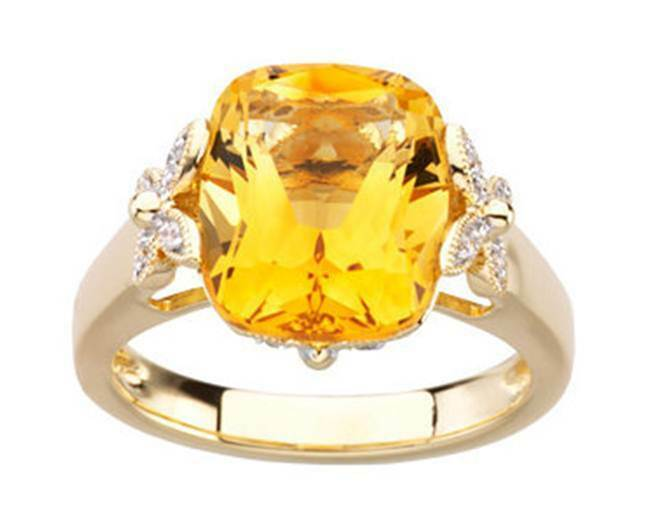 14K Genuine Citrine 5.40CT Cushion Cut and White Diamond Butterfly Ring