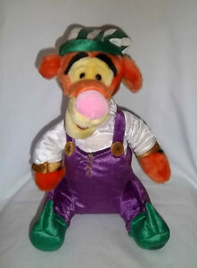 "DISNEY STORE Xmas 13"" Plush ELF TIGGER WINNIE the POOH Green Suit Winter Stuffed"