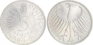 Alemania 5DM J. 387 Plata Moneda de Curso 1973J EBC