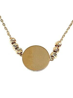 14K Yellow Gold Shiny 8mm Round Bead Charm On 18 Inch Necklace