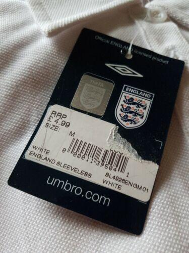 England Calcio Umbro bianco e rosso 100/% COTONE UNISEX T-shirt Taglia 12 M