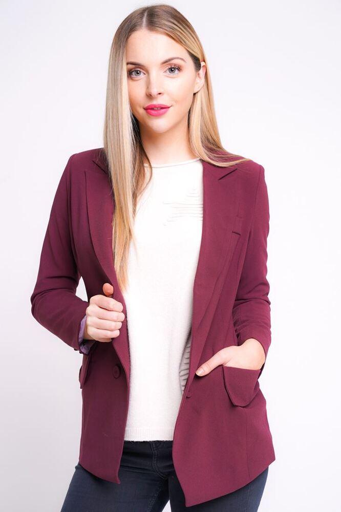 2019 DernièRe Conception Nouveau Débardeur Tailored Blazer Jacket Taille 8 10 12 14 Femmes Manteau Vin