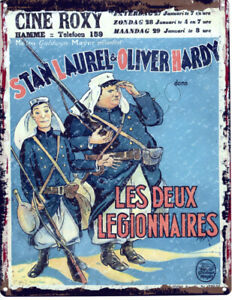 LAUREL-amp-HARDY-LES-DUEX-LEGIONNAIRES-french-METAL-SIGN-VINTAGE-STYLE-SMALL-MOVIE
