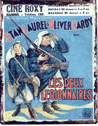 LAUREL/&HARDY LES DUEX LEGIONNAIRES french METAL SIGN  VINTAGE STYLE SMALL MOVIE