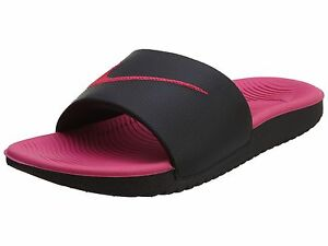 22c5c7632cdbc Nike Kawa Slide Big Kids 819353-001 Black Vivid Pink Logo Sandals ...