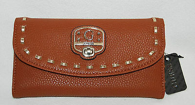 Cognac Brown GUESS Garland Checkbook Wallet Purse Clutch NWT - New Trifold