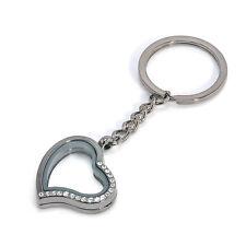 New Living Memory Floating Glass Locket Heart Keychain Pendant Keyring Black