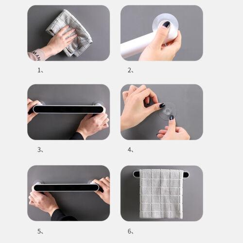 Self-adhesive Towel Holder Rack Wall Mounted Towel Hanger Bathroom Bar Holder