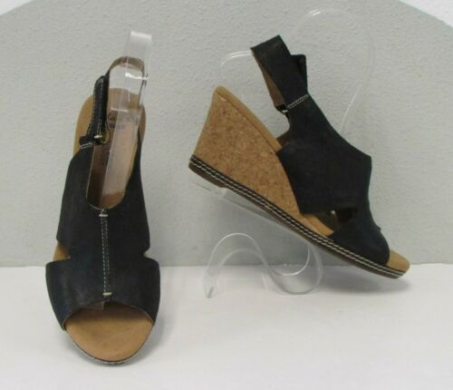 CLARKS Black Leather HELIO FLOAT Suede Wedge Platf