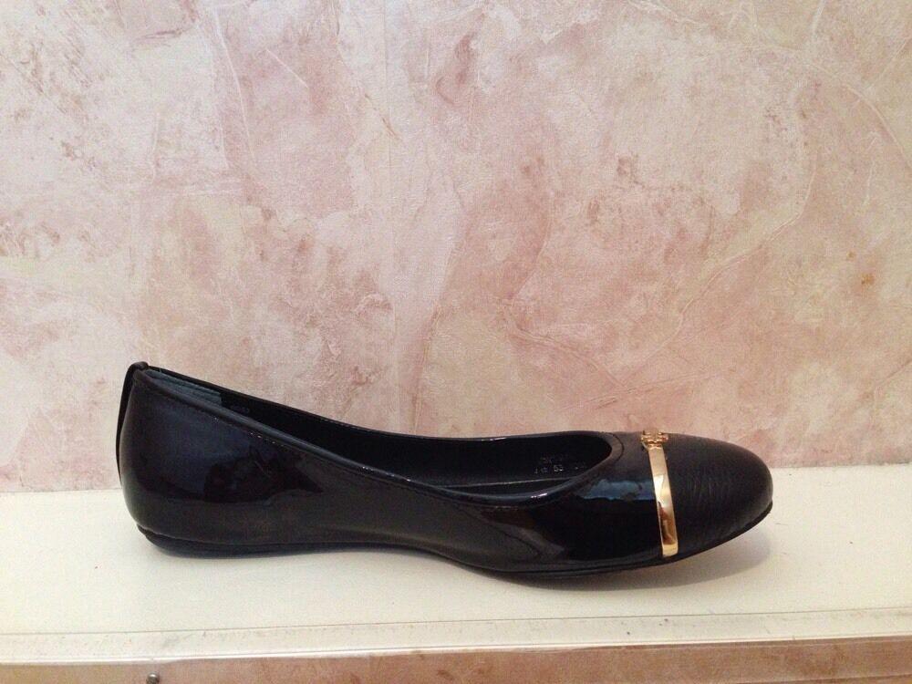 una marca di lusso NIB Tory Tory Tory Burch Pacey Patent Calf Tumbled Leather Ballet Flats scarpe nero 10 M  miglior reputazione