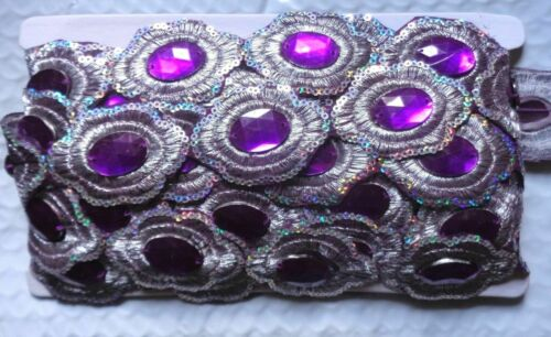 """1 1//2/"""" wide embroidery patch rhinestone lace price for 1 yard //select color"""