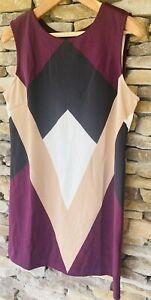 Worthington Dress Woman's Sleeveless Burgundy/white/black Geometric Sz#XL NWOT