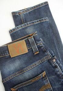 RRP-189-NUDIE-THIN-FINN-ORG-GENUINE-LOVE-Men-039-s-W32-L32-Faded-Blue-Jeans-4715-mm