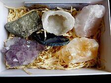6 Crystals Rocks Amethyst Citrine Fools Gold Rose Quartz Agate Slice Geode Boxed