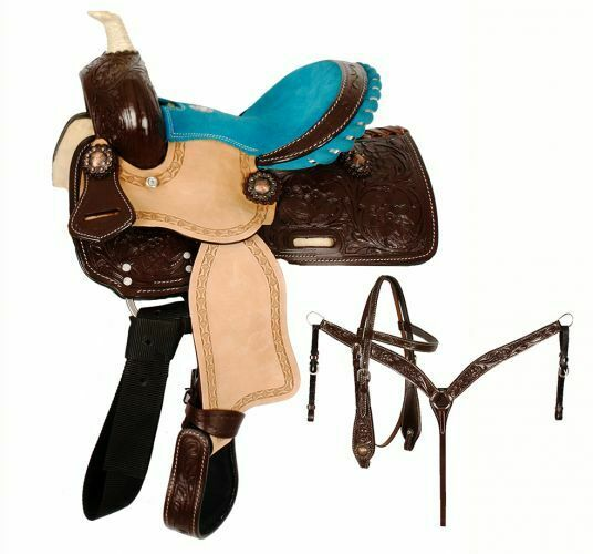 Double T 10   Pony SADDLE  SET Floral Tooled Dark Oil Skirts & Rough Out Leather  wholesale prices
