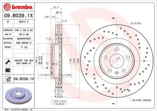 Bremsbeläge vorne für Audi A4 B8 5 8T Q5 8R Brembo Sport Bremsscheiben Ø345mm