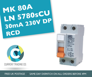 MK 80 amp 30 mA Double Pôle RCD LN 5780 S CU