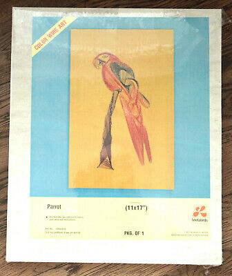 New Leewards Color Wire Art 1977 New Old Stock #33-62878 Parrot 11 X 17 In