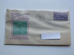 1938 FDC Constitution Ratification US 3c Stamp First Day Cover Issue Scott #835