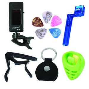 Guitar-Tuner-Kit-Tunner-Capo-Pick-Holder-String-Winder-5-Guitar-Picks-pick-bag