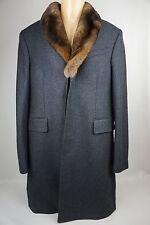 Burberry London Rabbit Fur Collar Grey Coat Size 50 EU / 40 US $2500