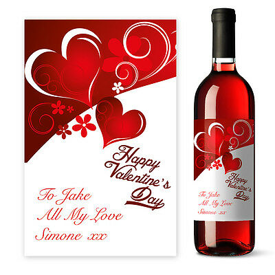 Personalised Red Valentine's Day Wine label gift