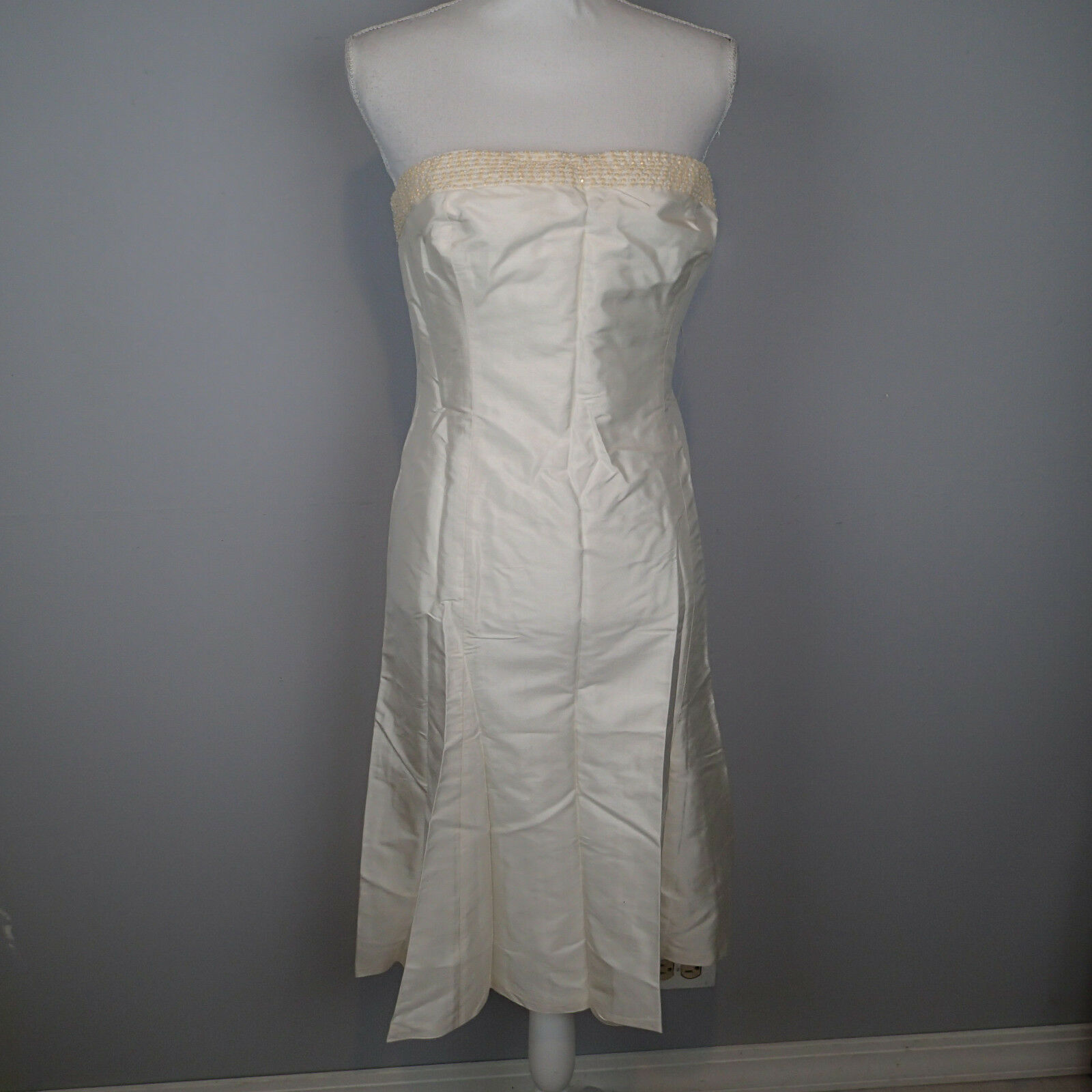 Ralph Lauren Dress  Ivory Strapless Cocktail Dress,sz 14 beads  silk