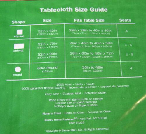 Sizes /& XL Sizes Happy Holiday Green Swirl Flannel Back Vinyl Tablecloths Asst