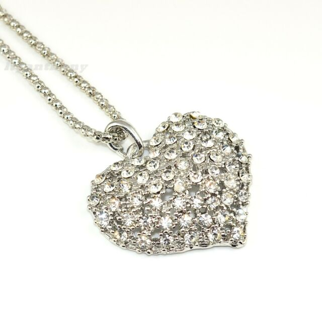 Vintage Fashion Silver Crystal Heart Pendant Long Chain Necklace #32S