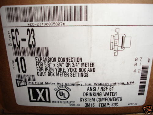 Ford Meter Box 5//8x3//4 Expansion Connection  EC-23  NEW 2 TWO