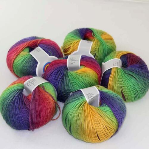 C New 6Skein*50g Cashmere Wool Rainbow Wrap Shawl Knitting Hand Knitwear Yarn 12