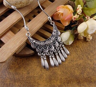 Vintage Women Ethnic Style Tibetan Silver Moon Design Tassel Pendant Necklace