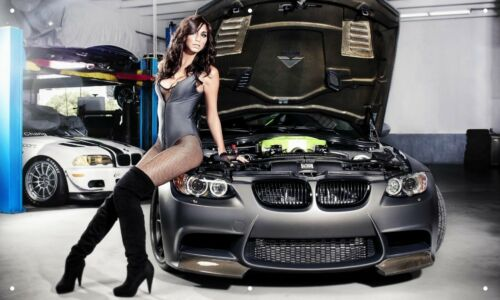 BMW M3 Hot Chick 3/'X5/' VINYL BANNER MAN CAVE HOT GIRLS RACE CAR GERMAN GARAGE