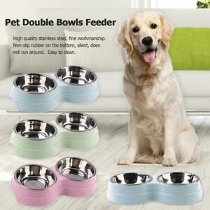 Dog Double Bowl Puppy Food Water Feeder Stainless Steel Pets Drinking Dish