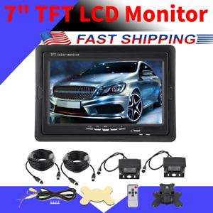 7 INCH LCD REAR VIEW BACKUP REVERSE MONITOR TWO-VIDEO INPUTS SINGLE VIEW