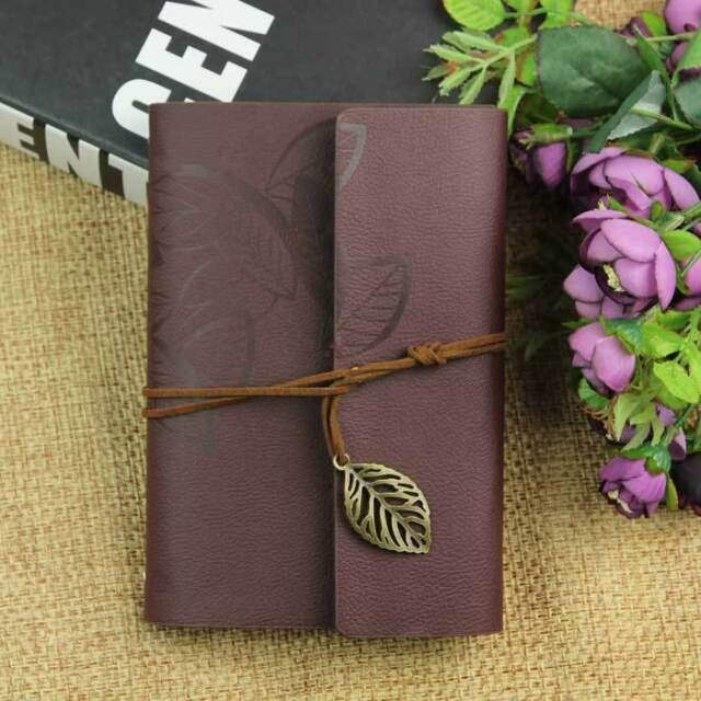 1x TAN Leaf Diary Journal Book Vintage Style Faux Leather Cover Travel Notebook