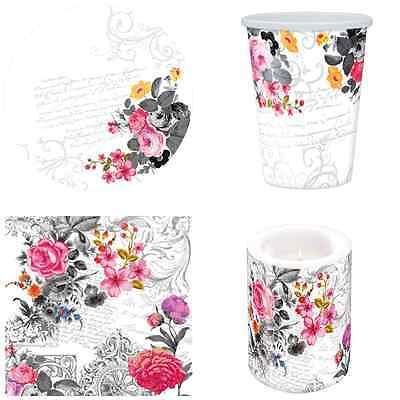 "/""Royal Rose/"" Papel Vajilla-Platos Tazas Servilletas-Vintage Rosa flores//D"
