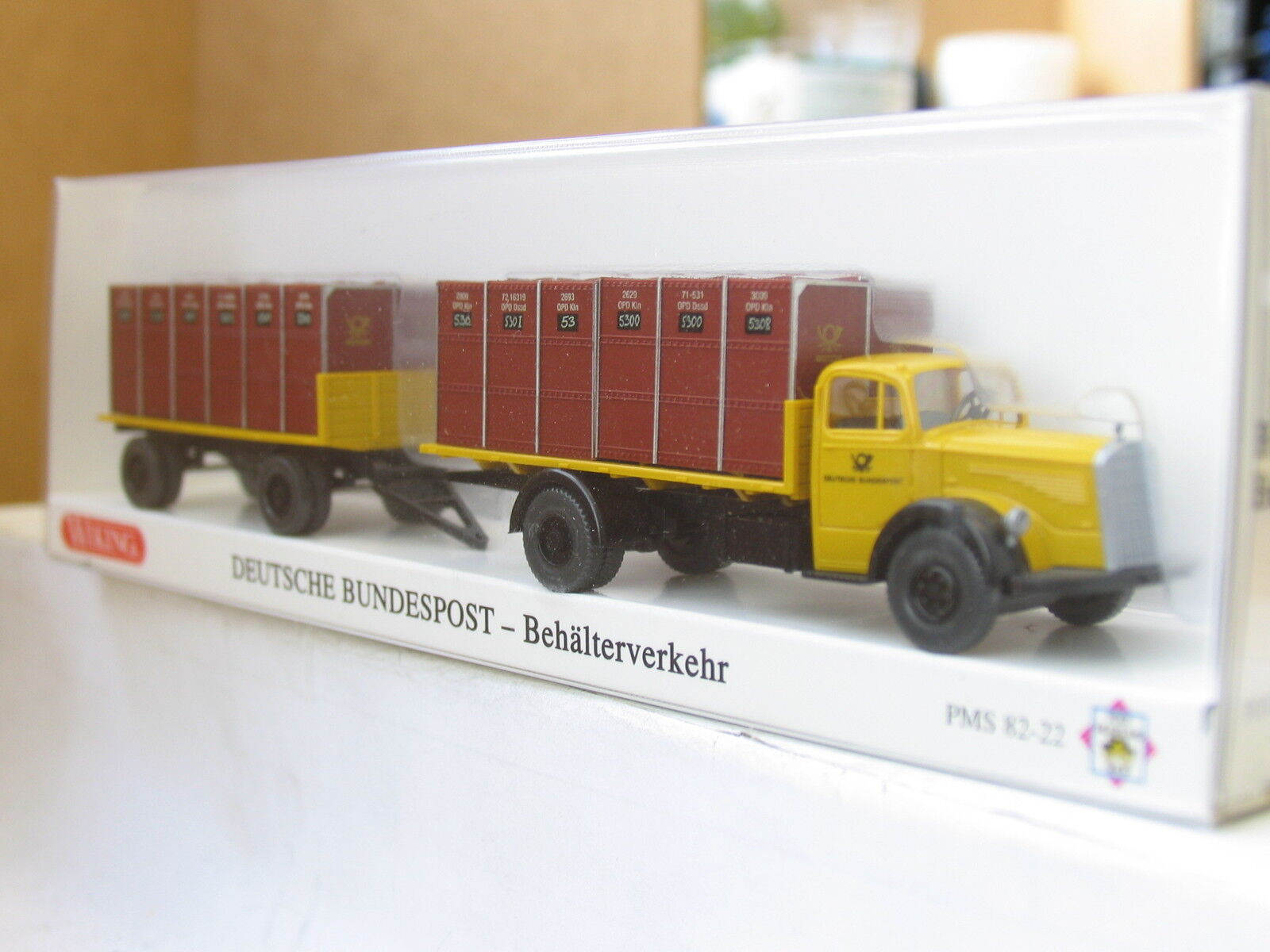Wiking PMS 82-22 mercedes 6600 recipientes de transportes Deutsche Bundespost embalaje original (u4621)