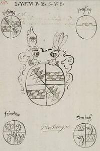 Pirching-Wappen-Heraldik-Trenbach-Preising-um-1700-Zeichnung