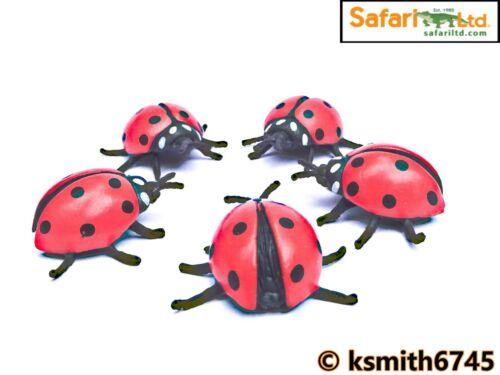 Safari 5 x Mini coccinelle plastique solide Jouet Insecte Animal COCCINELLE BUG nouveau