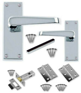 """6 Pairs 3/"""" Zinc Plated Hinges Pack of 6 x Tubular 64mm Mortice Door Latches"""