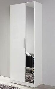 garderobenschrank 2 trg spiegel flurschrank dielenschrank weiss hochglanz neu 4053714226736 ebay. Black Bedroom Furniture Sets. Home Design Ideas